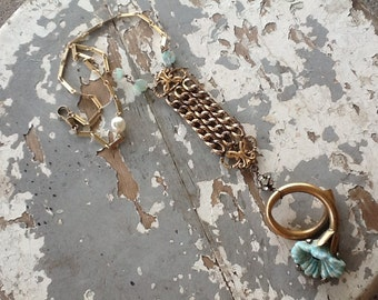Statement  Necklace, Watch Fob Necklace, Boho Jewelry, Gold Assemblage Necklace Vintage Repurposed