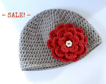 SALE!!! Baby Girl Beanie with Crochet Flower, Gift Idea, Photography Prop, Baby Hat