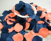Coral and Blue Rose Petals | 200 Artificial Petals | Coral & Navy Wedding | Blueberry Blue Coral | Flower Girl Basket Petals - Table Scatter