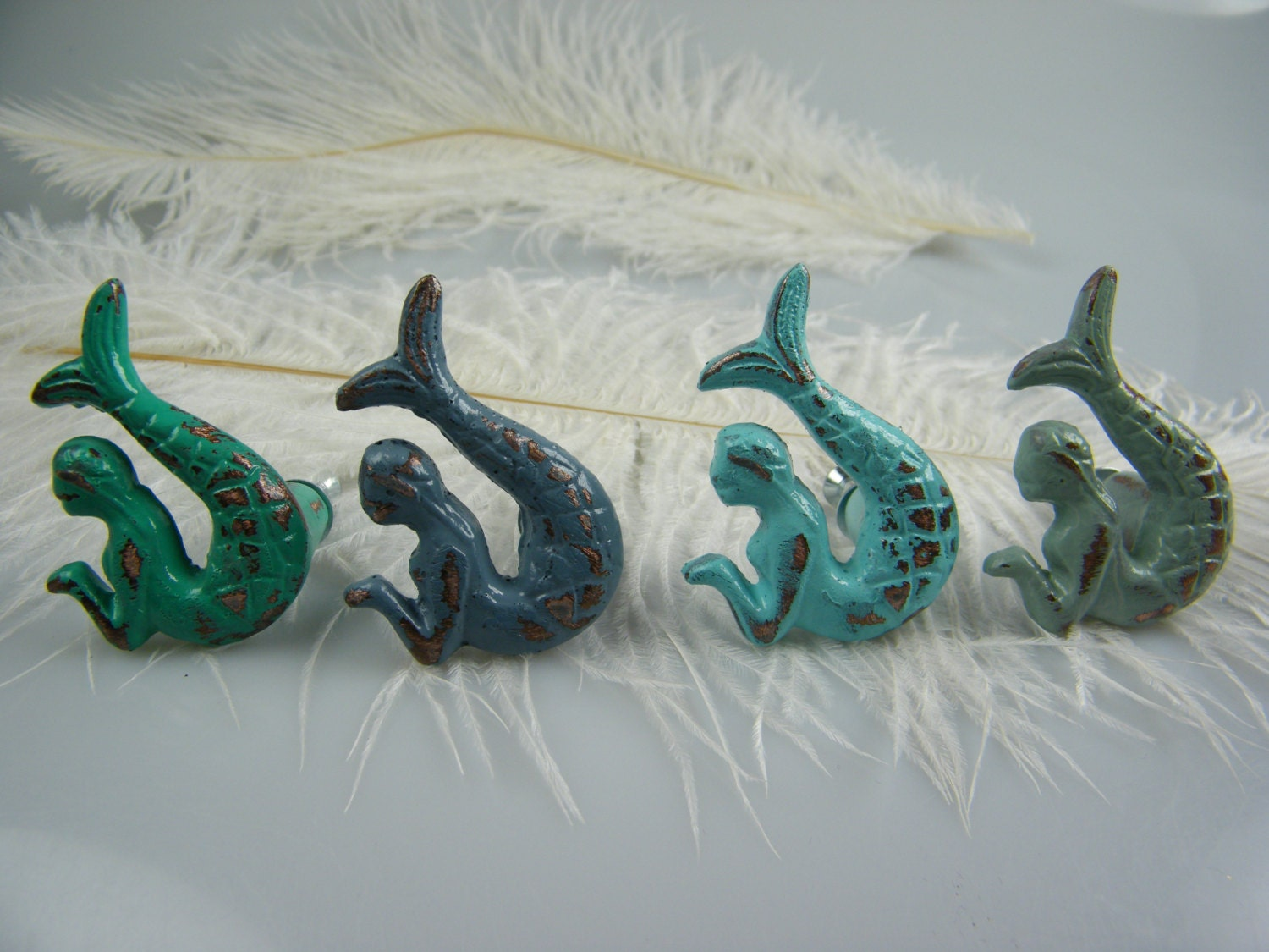 Mermaid Drawer Pulls Knobs / set of 2 opposite facing mermaids ...