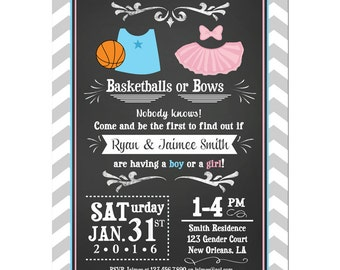 Basketball or Bows Invitation Printable or Printed With FREE SHIPPING - Gender Reveal - Basketball or Bows Collection