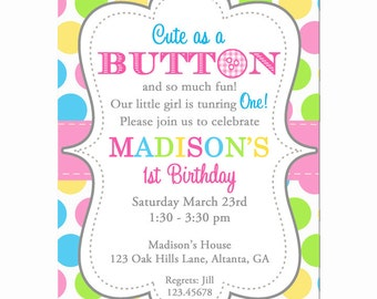 Cute as a Button Birthday Invitation Printable or Printed with FREE SHIPPING - Baby Shower, Birthday - You Pick Colors