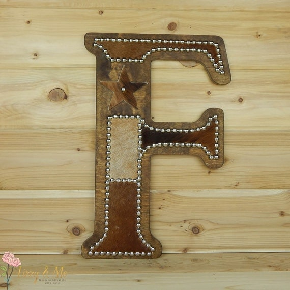 Cowhide Wall Letter F Western Home Decor Wall By Lizzyandme