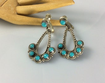 Vintage Mexican Sterling Turquoise Earrings