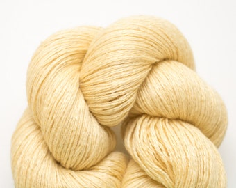 Soft Gold Silk Cashmere Lace Weight Recycled Yarn, Yellow Silk Cashmere, 943 Yards Available
