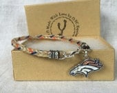 Horse Hair Bracelet with Denver Broncos Charm and Navy Blue and Orange Accent Threads