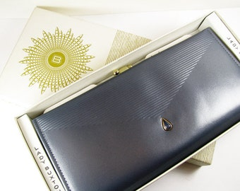 Vintage Wallet, Blue Grey Leather, Faux Opal and Gold Tone, 60s, French Clutch / Vintage Ladies Wallet - Porte-Monnaie.