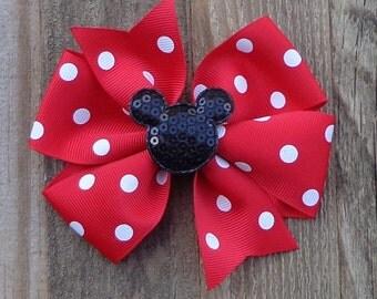 Minnie Mouse Hair Bow~RED Minnie Mouse Hair Bow~Red Polka Dot Minnie Mouse Hairbow~Large Minnie Mouse Bow~Large Pinwheel Bow~Large Hair Bow