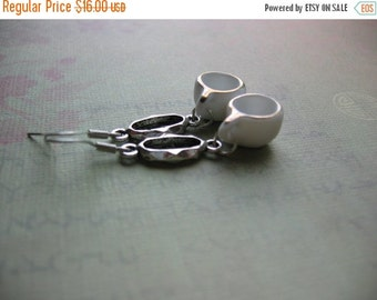 Clearance Teacup Earrings - Little Floral Porcelain Teacup and Antiqued Silver Oval Link Dangle Earrings - Teacup Jewelry
