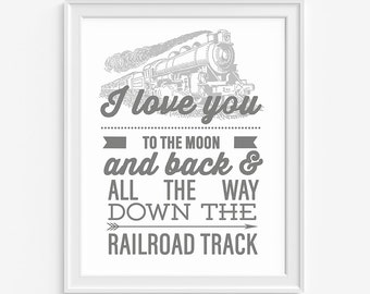Kid Train Print, I Love You Print, Train Print, Railroad Track Print, Train Wall Art