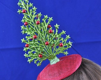 Green and Red Christmas Tree Fascinator