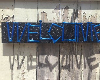 Industrial Steampunk Welded Bolt Welcome Sign