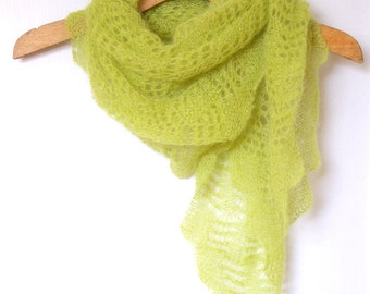 Lime green shawl scarf lace knit. Mohair scarf. Handknit scarf shawl. Accessory. Bridesmaid.
