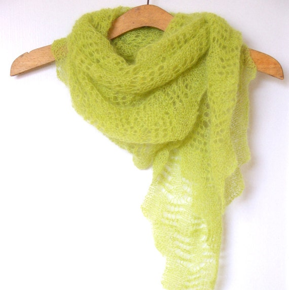 Knitting Patterns For Mohair Scarves : Lime green shawl scarf lace knit. Mohair scarf. Handknit scarf
