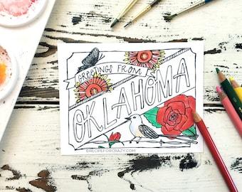 Coloring Postcard, Oklahoma handdrawn postcard
