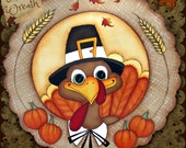 E PATTERN - Turkey Wreath! Sweet Turkey for all of Fall or Thanksgiving - Designed & Painted by Sharon Bond - FAAP