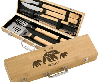 Personalized Papa Bear & Cubs 5 piece BBQ Gift Set - Engraved Dad's Bamboo Grill Set - Custom Father's Day Grilling Gift Set - Mens Gift