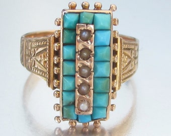 Antique (1883) Victorian Turquoise and Pearl Rose Gold 14K Ring