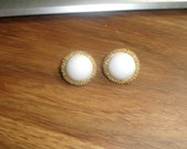 vintage clip on earrings goldtone white trifari