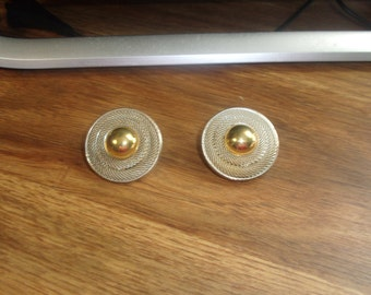 vintage clip on earrings goldtone silvertone
