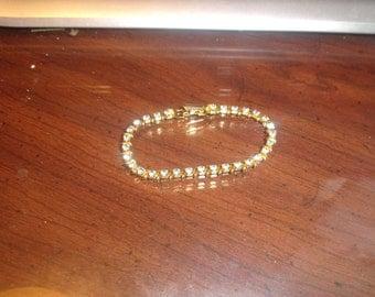 vintage bracelet goldtone blue rhinestones