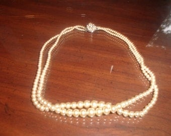 vintage necklace double strand faux pearls rhinestones