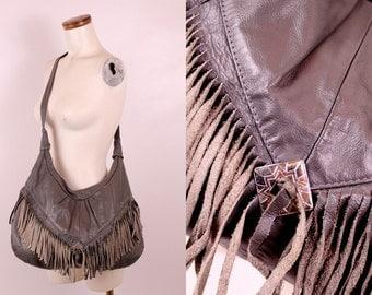 Vintage 80s Grey Leather Tassel Fringe Silver Concho Cross Body Sling Shoulder Bag Purse - Boho Hippie