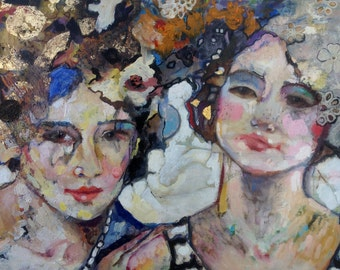 "Limited Edition, hand painted Print, Mixed Media portrait Print  of two women in Gold and Lace "" Femmes"" 11""x14"""