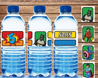 Lego Superhero Party {Printable Water Bottle Labels} Personalized