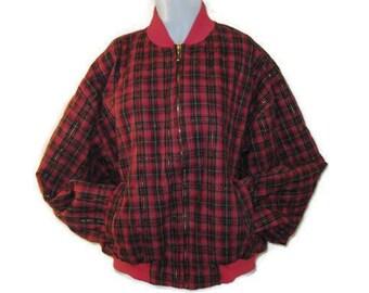 70s Bomber Jacket Red Plaid Jacket Plaid Bomber Jacket Vintage 1970s Tartan Bomber Red Plaid Coat Short Plaid Coat Red Tartan Jacket