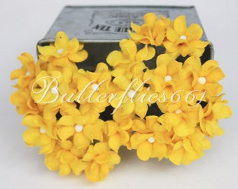 NEW ARRIVAL : 30 Yellow Small Handmade Mulberry Paper Flowers