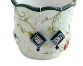 Black and Silver Dangle Earrings, Celtic Heart earrings, ladies dangle earrings, handmade earring jewellery, ladies gift idea