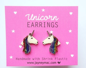 Unicorn Earrings - Shrink Plastic Glitter Rainbow Unicorn Stud Earrings
