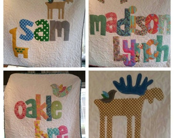 The Original Personalized Quilt 40 x 40, Baby Quilt, Raw Edge Applique Quilt, Name Quilt