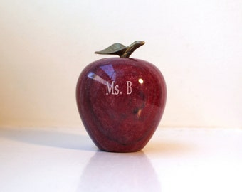 Vintage Red Marble Apple Retro Stone Paperweight Figurine Ms. B