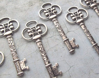 Catalina Antique Silver Skeleton Key - Set of 10