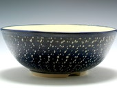 Extra Large Handmade Ceramic Serving Bowl in Rich Cobalt Blue and white with Carved Texture/Ceramics and Pottery