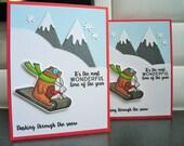 Handmade Christmas Cards Set of 2, Holiday Card Set, Dashing Through the Snow, Bear Cards