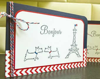 Westie Cards Set of 2, Blank Cards Set, Bonjour Cards, Paris Cards, French Cards Stationery, Eiffel Tower Cards, Westie Lover Gift, France,