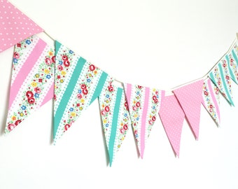 Shabby Chic Fabric Banners, Bunting, Garland, Wedding Bunting, Flags, Mint green and Pink shade- 3 yards