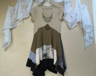 Upcycled Tshirt Dress, Shabby Chic Boho Gypsy Tunic Dress, Bohemian Dress XL