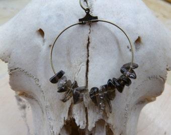 Minimalist , smoky quartz chips gemstone and antique brass hope  necklace