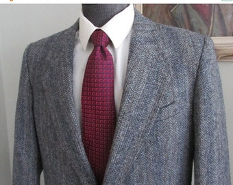 VINTAGE Mens HARRIS TWEED Herringbone Jacket Size 40 Tall-Harris Tweed Blazer- Mans Herringbone Blue Sport Coat Tag size 40 Tall