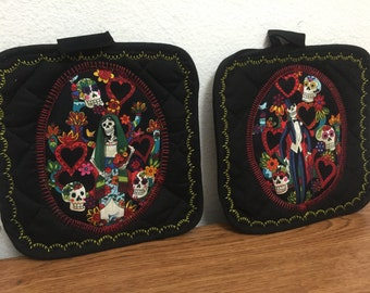 Day of the Dead Dia De Los Muertos Colorful Potholder Set