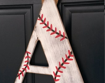 18 inch Chevron letters, Baseball door decor, baseball decor, Custom distressed wood letters for home decor - 18 in wood letters