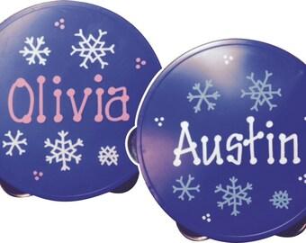 SALE * Personalized Snowflakes Tambourine - Hand Painted Snowflakes design on Blue Tambourine  / ONEderland / Winter