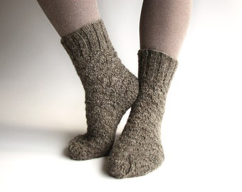 Wool Socks EU Size 36-37.5 - Hand Knitted - 100% Natural Organic Wool - Warm Winter Eco Clothing