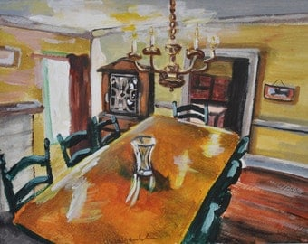 Original Painting of a Dining Room Tempera on Paper