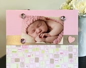 "Baby Girl Modern mothers day grandmother mom little girl gift magnetic picture frame holds 5"" x 7"" photo 9"" x 11"" size"