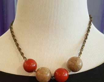 Brass Necklace with Large Vintage Lucite Beads, Maroon and Beige